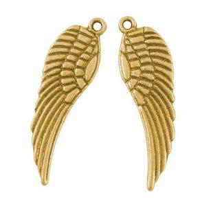 Antique Gold Tibetan Zinc Angel Wings Pendants 9mm x 30mm Pack Of 30 HA06385
