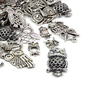 Antique Silver Tibetan Zinc Mixed Owl Charms 5-40mm Pack Of 30g HA06695