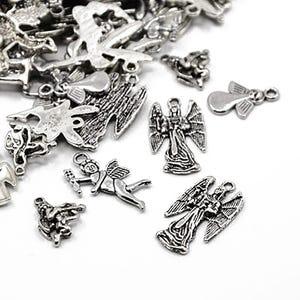 Antique Silver Tibetan Zinc Mixed Angel Charms 5-40mm Pack Of 30g HA06705