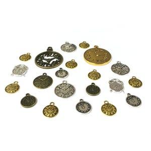 Multicolour Tibetan Zinc Mixed Clock Charms 5-40mm Pack Of 30g HA06710