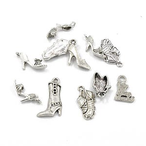 Antique Silver Tibetan Zinc Mixed Shoe Charms 5-40mm Pack Of 30g HA06720