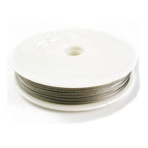 Steel Tiger Tail Silver Nylon-Coated 50m Spool 0.45mm Thick HA06750