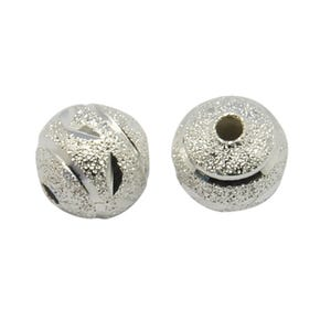 Silver Brass Round Spacer Beads 8mm Pack Of 50 HA06930