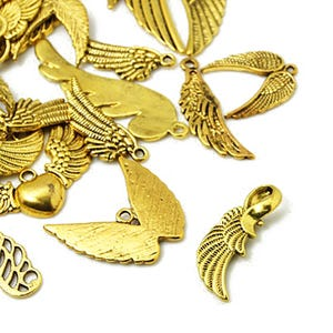Antique Gold Tibetan Zinc Mixed Wing Charms 5-40mm Pack Of 30g HA07020