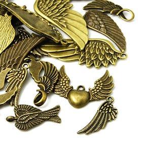 Antique Bronze Tibetan Zinc Mixed Wing Charms 5-40mm Pack Of 30g HA07030