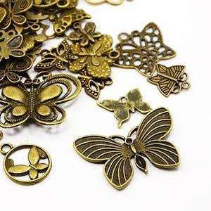 Antique Bronze Tibetan Zinc Mixed Butterfly Charms 5-40mm Pack Of 30g HA07040