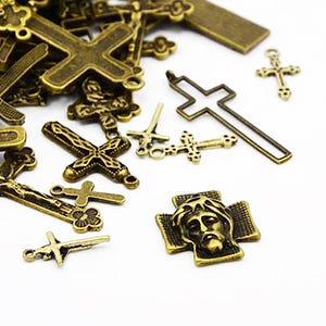 Antique Bronze Tibetan Zinc Mixed Cross Charms 5-40mm Pack Of 30g HA07060