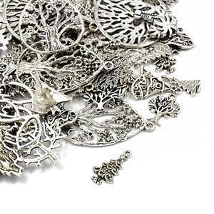 Antique Silver Tibetan Zinc Mixed Tree Charms 5-40mm Pack Of 30g HA07070