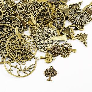 Antique Bronze Tibetan Zinc Mixed Tree Charms 5-40mm Pack Of 30g HA07080