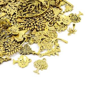 Antique Gold Tibetan Zinc Mixed Tree Charms 5-40mm Pack Of 30g HA07085