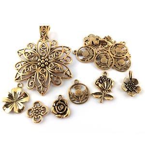 Antique Gold Tibetan Zinc Mixed Flower Charms 5-40mm Pack Of 30g HA07090