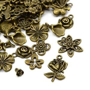 Antique Bronze Tibetan Zinc Mixed Flower Charms 5-40mm Pack Of 30g HA07360