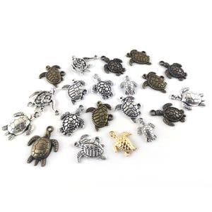 Multicolour Tibetan Zinc Mixed Tortoise Charms 5-40mm Pack Of 30g HA07365