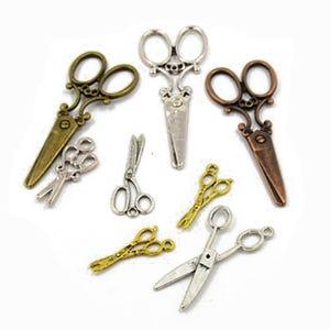Multicolour Tibetan Zinc Mixed Scissors Charms 5-40mm Pack Of 30g HA07380