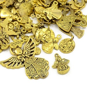 Antique Gold Tibetan Zinc Mixed Fairy Charms 5-40mm Pack Of 30g HA07425