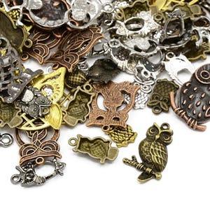 Multicolour Tibetan Zinc Mixed Owl Charms 5-40mm Pack Of 30g HA07455