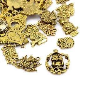 Antique Gold Tibetan Zinc Mixed Owl Charms 5-40mm Pack Of 30g HA07460