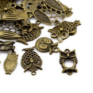 Antique Bronze Tibetan Zinc Mixed Owl Charms 5-40mm Pack Of 30g HA07465