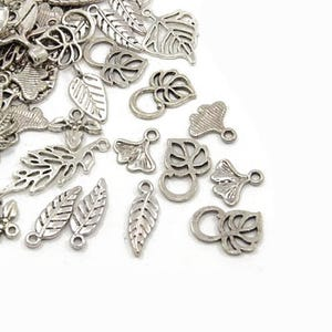 Antique Silver Tibetan Zinc Mixed Leaf Charms 5-40mm Pack Of 30g HA07475