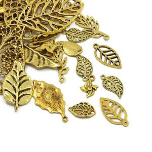Antique Gold Tibetan Zinc Mixed Leaf Charms 5-40mm Pack Of 30g HA07480