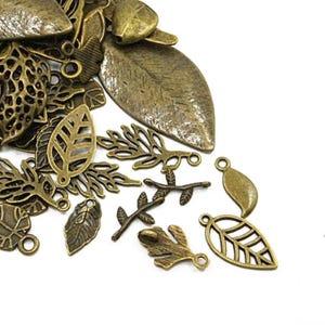 Antique Bronze Tibetan Zinc Mixed Leaf Charms 5-40mm Pack Of 30g HA07485
