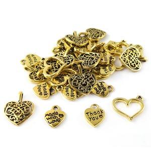 Antique Gold Tibetan Zinc Mixed Heart Charms 5-40mm Pack Of 30g HA07490