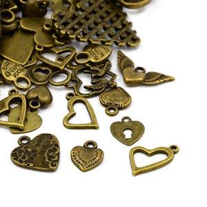Antique Bronze Tibetan Zinc Mixed Heart Charms 5-40mm Pack Of 30g HA07495