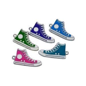 Multicolour Enamel & Alloy Mixed Shoe Pendants 30mm Pack Of 5 HA08215