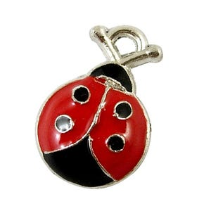 Red/Black Enamel & Alloy Ladybug Charms 18mm Pack Of 10 HA08220