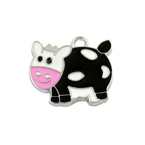 Black/White Enamel & Alloy Cow Charms 24mm Pack Of 5 HA08230