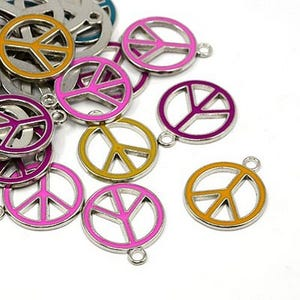 Multicolour Enamel & Alloy Mixed Peace Sign Pendants 25mm Pack Of 10 HA08250