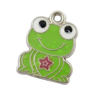 Green Enamel & Alloy Frog Charms 20mm Pack Of 10 HA08255