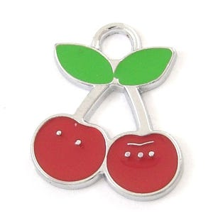 Red/Green Enamel & Alloy Cherry Charms 22mm Pack Of 5 HA08260