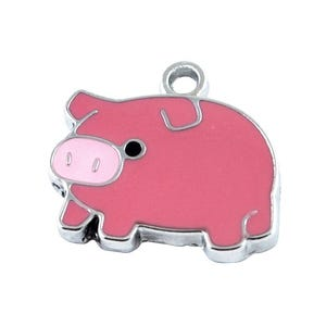 Pink Enamel & Alloy Pig Charms 22mm Pack Of 5 HA08280