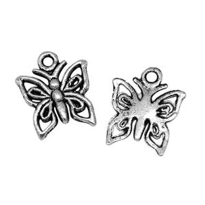 Antique Silver Tibetan Zinc Butterfly Charms 15mm Pack Of 30 HA08425