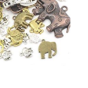 Multicolour Tibetan Zinc Mixed Elephant Charms 5-40mm Pack Of 30g HA08620
