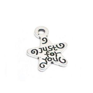 Antique Silver Tibetan Zinc Just For You Charms 14mm Pack Of 50+ HA08850