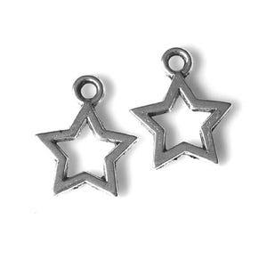 Antique Silver Tibetan Zinc Star Charms 10mm Pack Of 100+ HA08855