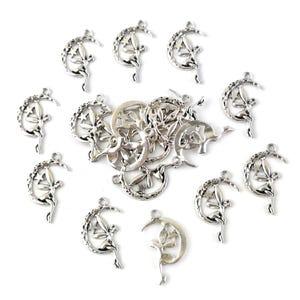Antique Silver Tibetan Zinc Moon & Fairy Pagan Pendants 25mm Pack Of 20 HA08915