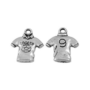 Antique Silver Tibetan Zinc Soccer Shirt Charms 19mm Pack Of 20 HA08965