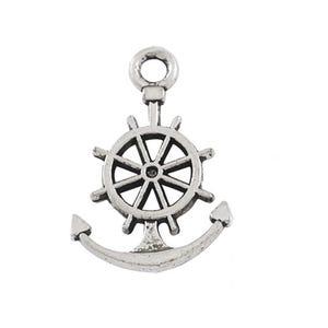 Antique Silver Tibetan Zinc Anchor & Wheel Charms 21mm Pack Of 20 HA09020