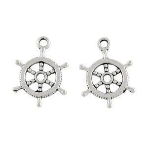 Antique Silver Tibetan Zinc Captains Wheel Charms 19mm Pack Of 30 HA09025