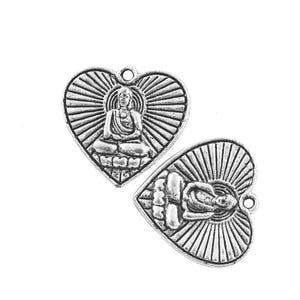 Antique Silver Tibetan Zinc Buddha Pendants 25mm Pack Of 10 HA09310