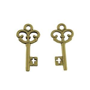 Antique Bronze Tibetan Zinc Alice Steampunk Key Charms 23mm Pack Of 20 HA09355