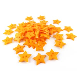 Dull Yellow Acrylic 19mm 2-Hole Star Buttons Pack Of 50+ HA09560