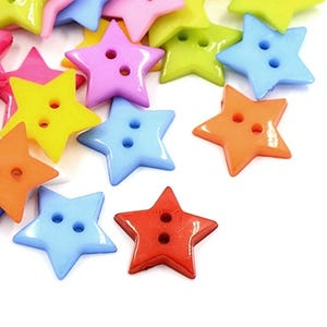 Mixed-Colour Acrylic 19mm 2-Hole Star Buttons Pack Of 50+ HA09600