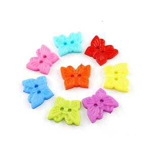 Mixed-Colour Acrylic 18mm 2-Hole Butterfly Buttons Pack Of 25 HA09665