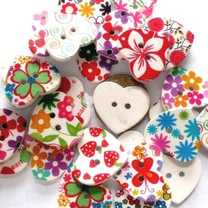 Mixed-Colour Wood 25mm 2-Hole Heart Buttons Pack Of 10 HA09795