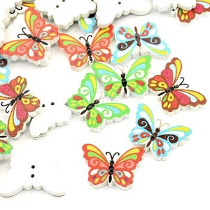 Mixed-Colour Wood 24mm 2-Hole Butterfly Buttons Pack Of 20 HA09805