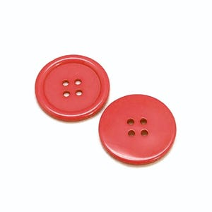 Red Resin 20mm 4-Hole Round Buttons Pack Of 20 HA10720